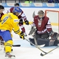 UFA, RUSSIA – DECEMBER 29: Sweden's Elias Lindholm #19 takes a shot on goal against team Latvia during preliminary round action at the 2013 IIHF Ice Hockey U20 World Championship. (Photo by Richard Wolowicz/HHOF-IIHF Images)